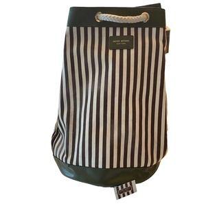 Henri Bendel Stripe Canvas Drawstring Backpack Bag